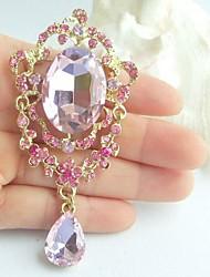 Women Accessories Gold-tone Pink Rhinestone Crystal Brooch Art Deco Brooch Bouquet Women Jewelry