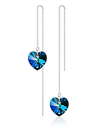 925 Sterling Silver Earrings Black Heart Sapphire Drop Earrings Jewelry