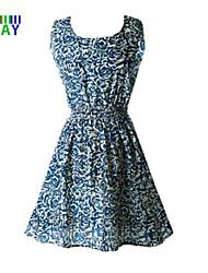ZAY Women's Elegant Rose Printing Sleeveless Waisted  Dress