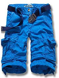 Masculino Shorts Masculino Cor Solida Casual/Tamanhos Grandes Algodão