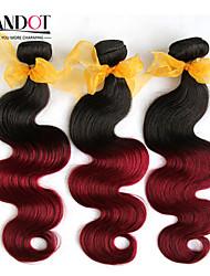 """8 """"-28"""" 4pcs 2 dos tonos tejidos de pelo pelo de la onda del cuerpo 1b / 99 humano virginal cuerpo malasio onda del pelo"""