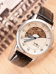 Men's Round Dial Case Leather Watch Brand Wrist Watch(More Color Available)