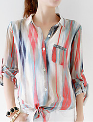 Women's Print Shirt , V Neck Long Sleeve Button