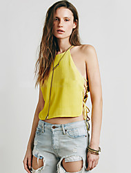 Women's White/Yellow Blouse , Halter Sleeveless Hollow Out/Backless
