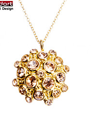 316L Stainless Steel IP Gold Flower Pendant with Champagne CZ Stones Set with Steel Chain Necklace for Women