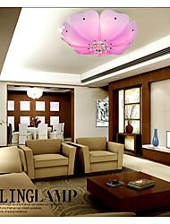 Flush Mount Crystal LED 4 Lights Fashion Flower-Shaped Absorb Dome Light Pink/White Sitting Room Dining-Room Lamp
