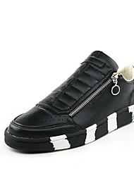 Scarpe Donna - Sneakers alla moda - Casual - Punta arrotondata - Piatto - Finta pelle - Nero / Bianco