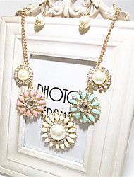 Full Diamond-Studded Pearl Short Collarbone Necklace(Colorized)(1Pc)
