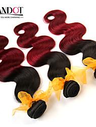 3pcs ombre extensiones de cabello humano 2 tonos burdeos negro 1b / 99j grado 6a onda del cuerpo del pelo virginal malasio armadura del
