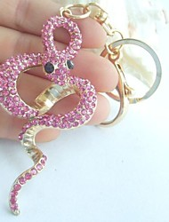 """3.15""""Unique Snake KeyChain Handbags Pendant With Pink Rhinestone Crystals"""