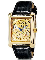 montres de mode sewor rectangle hommes de marque sculpture mécanique squelette cuir remontage manuel robe de sangle montre-bracelet