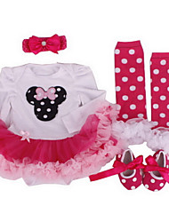 BHL Retailed Infant Rompers Dress 4pcs/set Baby Romper Clothe Headdress Flower+Socks+Band+Shoes For SZ 0~12M