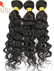 "3Pcs/Lot 10""-28"" Unprocessed Brazilian Virgin Hair Natural Black Water Wave Human Hair Weave"