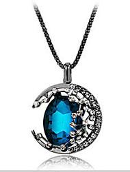 New Arrival Fashionla Delicate Rhinestone Gem Moon Necklace