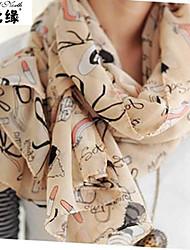 Chiffon long scarf scarf shawl - graffiti W4519