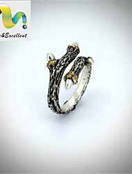 Casual Sterling Silver Gemstone & Crystal Adjustable Ring