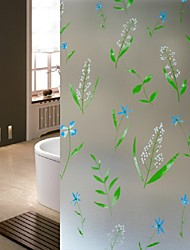 Bathroom Window Film & Stickers, Green Leaf Glass Door Sticker (100*90cm)