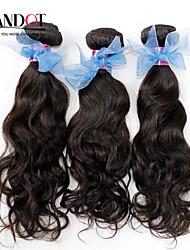 "3Pcs Lot 12-28""  Indian Unprocessed Water Wave Wavy Virgin Hair Wefts Natural Black Raw Remy Human Hair Weave Bundles"