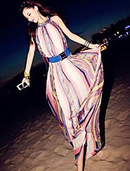Women's Bohemian Inelastic Print Slim Swing Sleeveless Beach Maxi Dress (Chiffon)