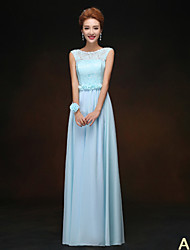 Floor-length Bridesmaid Dress - A-line High Neck / Jewel / One Shoulder / Strapless / V-neck with