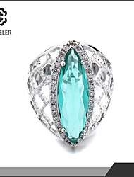 Statement Rings Zircon Cubic Zirconia Platinum Plated Fashion 6# 8# 9# 10# Light Green Jewelry Party 1pc