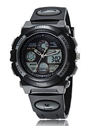 negro banda de silicona esfera del reloj redondo reloj de pulsera de reloj del deporte del salto movimiento de la moda de Japón de los