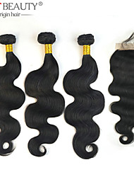 3Bundles with Closure 10-30inch Unprocessed Virgin Brazilian Hair Body Wave Top Closure