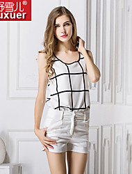 Shuxuer ® Women's Casual/Work Inelastic Sleeveless Regular Blouse (Chiffon)