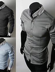 + 2014 новых мужские рубашки + мужская повседневная Slim Fit стильные рубашки горячие, с длинным рукавом, 3 цвета, размер 4, оптовая