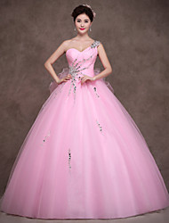 Ball Gown Sweetheart Floor Length Satin Tulle Evening Dress with Crystal