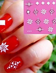 3D White Flowers Pattern Wedding Nail Art Sticker XF-023