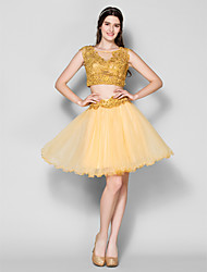 robe de cocktail de retour - robe de bal d'or Scoop genou dentelle / tulle