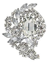 Clear Rhinestone Drop Flower Brooch Broach Pins Women's Jewelry
