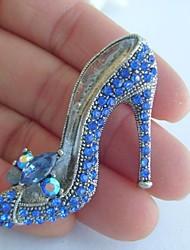 Women Accessories Silver-tone Blue Rhinestone Crystal High-heeled Shoes Brooch Art Deco Women Jewelry