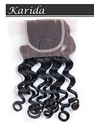 karida cabelo 4x4 fechamento frontal laço brasileiro, 6a grau de qualidade elevado fechamento cabelo humano