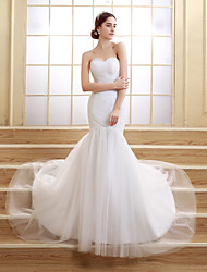 Trumpet/Mermaid Sweep/Brush Train Wedding Dress -Sweetheart Tulle