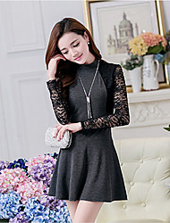 Women's Round Dresses , Lace/Nylon Vintage/Lace Long Sleeve HNSP