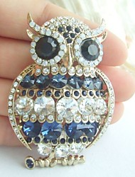 Women Accessories Gold-tone Clear Blue Rhinestone Crystal Owl Brooch Art Deco Scarf Brooch Pin Women Jewelry
