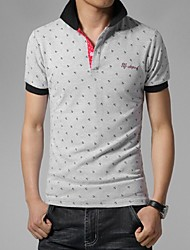 Men's Short Sleeve Polo , Cotton/Spandex Casual/Sport Print