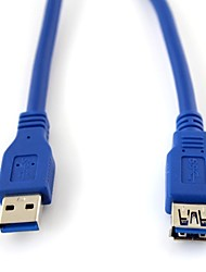 3FT USB 3.0  A Male to Female M/F Extension Data Sync Cord Cable Blue
