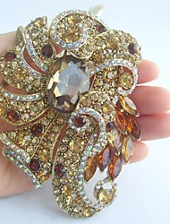 Women Accessories Gold-tone Topaz Rhinestone Crystal Brooch Art Deco Brooch Bouquet Women Jewelry