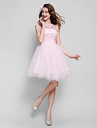 Homecoming Cocktail Party Dress - Blushing Pink Ball Gown Jewel Knee-length Tulle