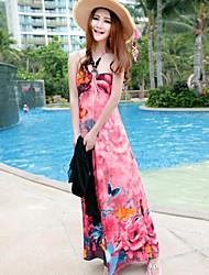 Women's Sexy Beach Halter Boho Print Sleeveless Maxi Dress (Silk)
