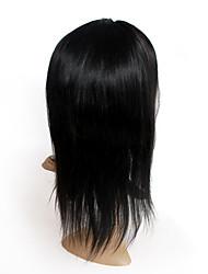 """främre spets peruk med kam 100% människohår naturligt svart peruk naturliga raka 14 """"-24"""" tillgängliga"""