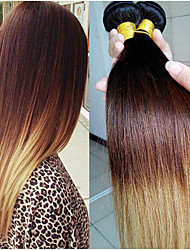 3Pcs/Lot Ombre Hair Extensions Three Tone 1B/4/27 Brazilian Virgin Hair Straight Human Hair Weave