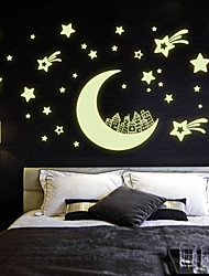 Luminous Wall Stickers Wall Decals Style Moon House Star PVC Wall Stickers