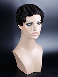 Real Human Hair Short Curly Wig Color Black