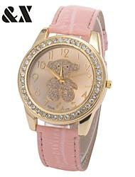 Damenmode Diamant schöne rosa Bär Quarz Analog Leder-Band-Armbanduhr (farbig sortiert)