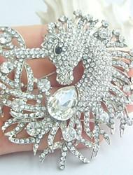 Women Accessories Silver-tone Clear Rhinestone Crystal Unicorn Horse Brooch Art Deco Scarf Brooch Pin Women Jewelry