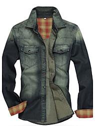 2014 neue Art und Weise europäische Größe Männer Jeans Shirts Männer Casual Langarm slim fit Baumwolle soft männlichen Denimhemden